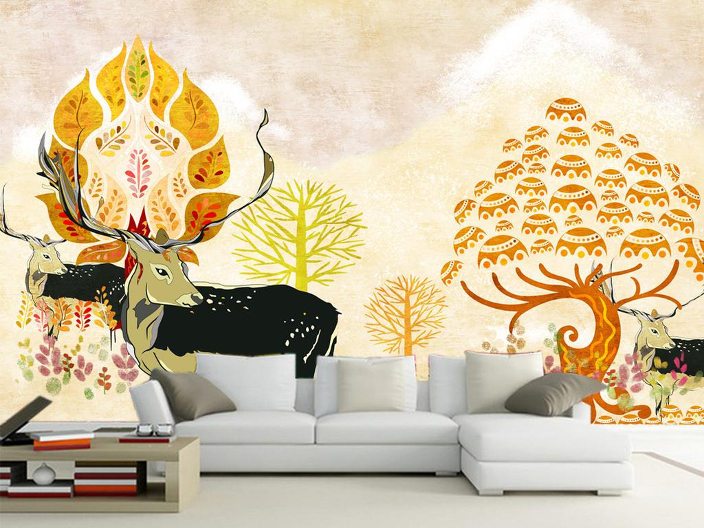 手绘现代简约电视背景墙图片(图片编号:15981164)