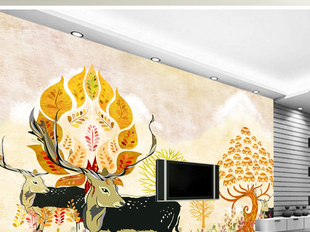 手绘现代简约电视背景墙图片