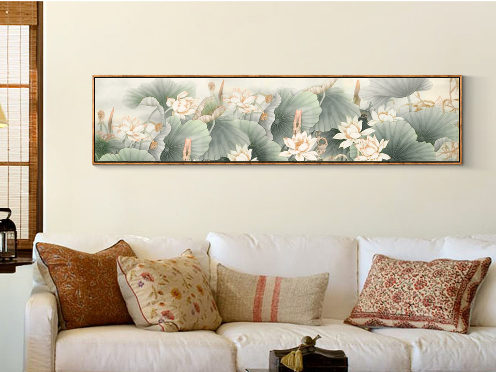 工笔荷花新中式无框画手绘荷花背景墙中国风