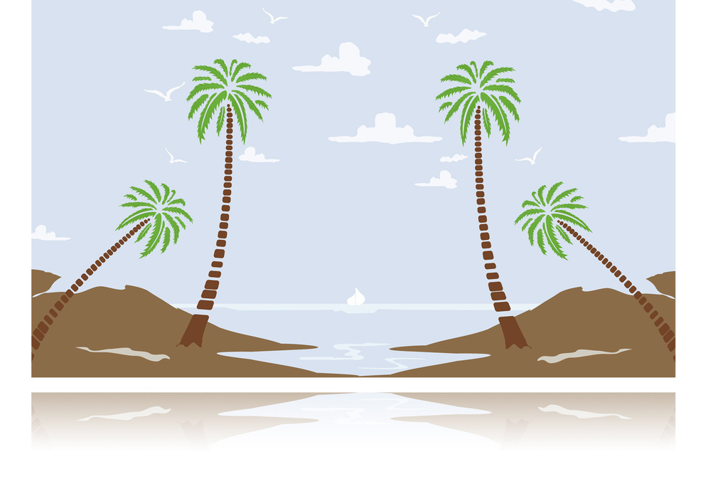 手绘蓝天白云椰树大海背景墙