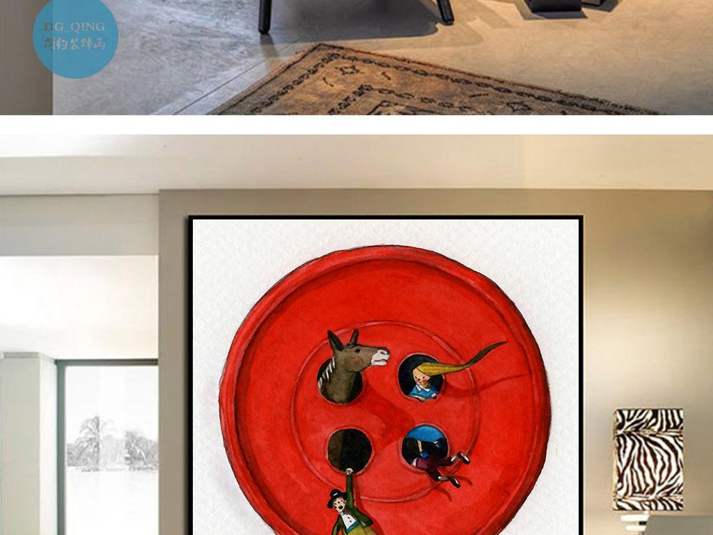 红纽扣故事北欧丹麦童话欧式手绘室内装饰画