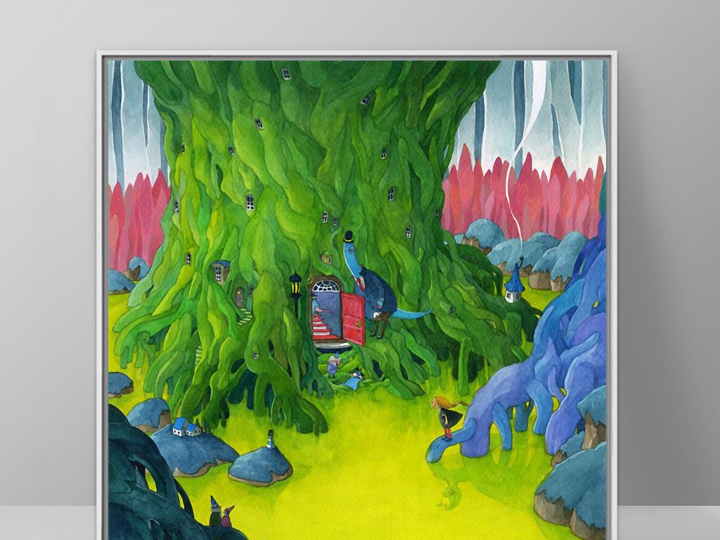 大树下房子魔幻森林北欧童话欧式手绘装饰画