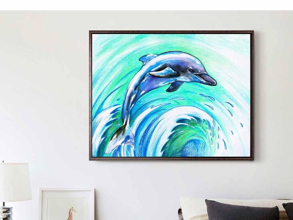 手绘彩绘蓝色大海海豚海浪沙滩玄关装饰画