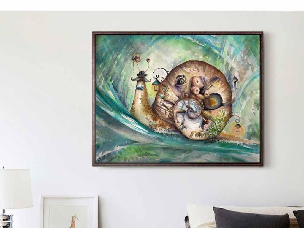 手绘彩绘绿色奇幻蜗牛旅行儿童房小孩房油画