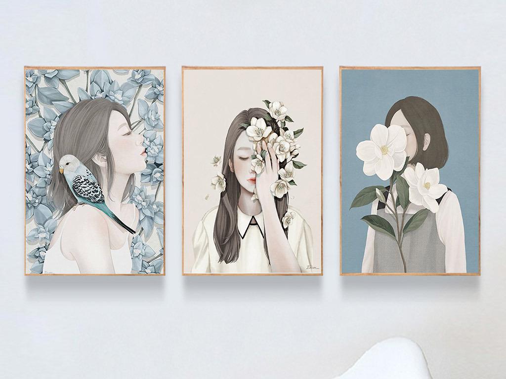 唯美创意小清新少女与花朵三联无框画