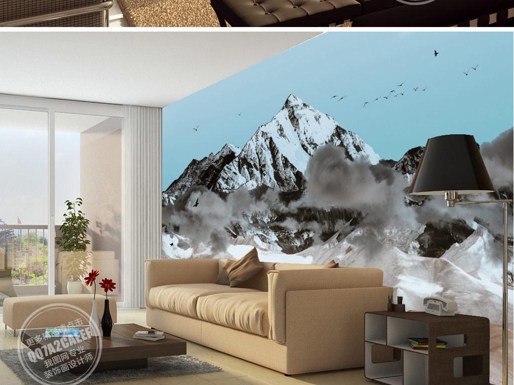 新中式手绘雪山云海电视沙发背景墙