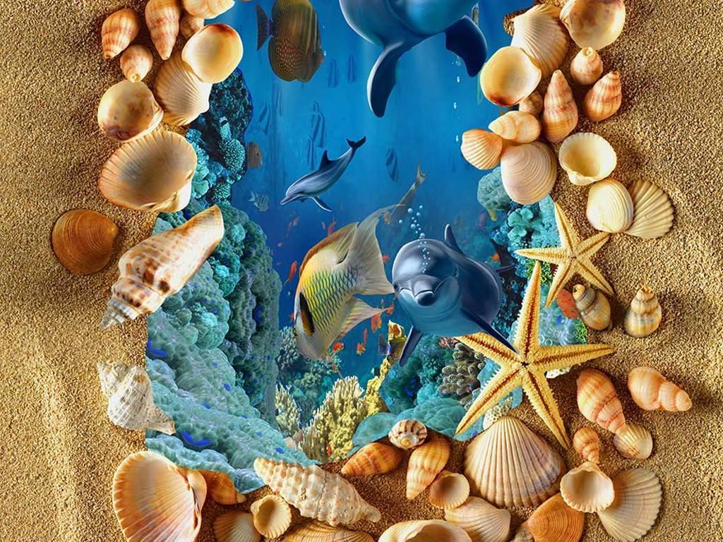 海洋世界海豚3d立体画地画