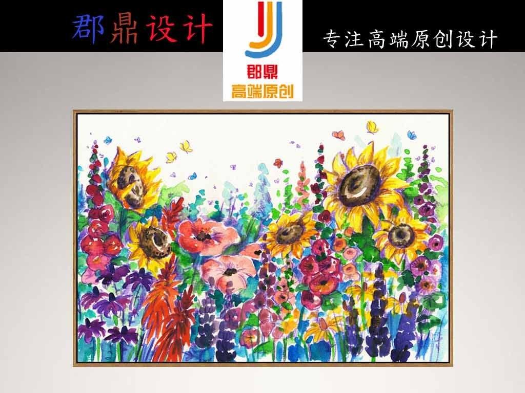 欧式静物手绘向日葵彩色花朵花卉玄关油画
