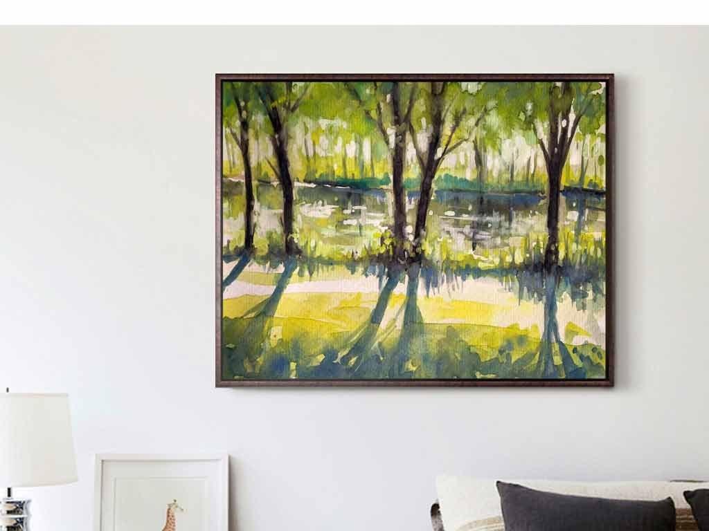 绿色森林密林手绘油画春季油画绘画