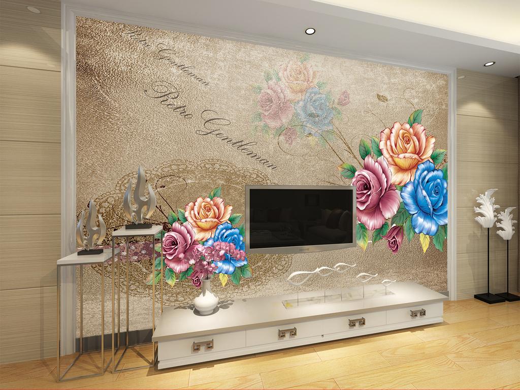 富贵手绘玫瑰花电视背景墙