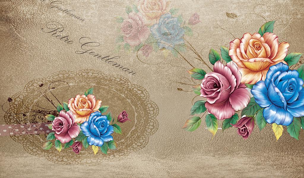 玫瑰花手绘花卉背景墙唯美