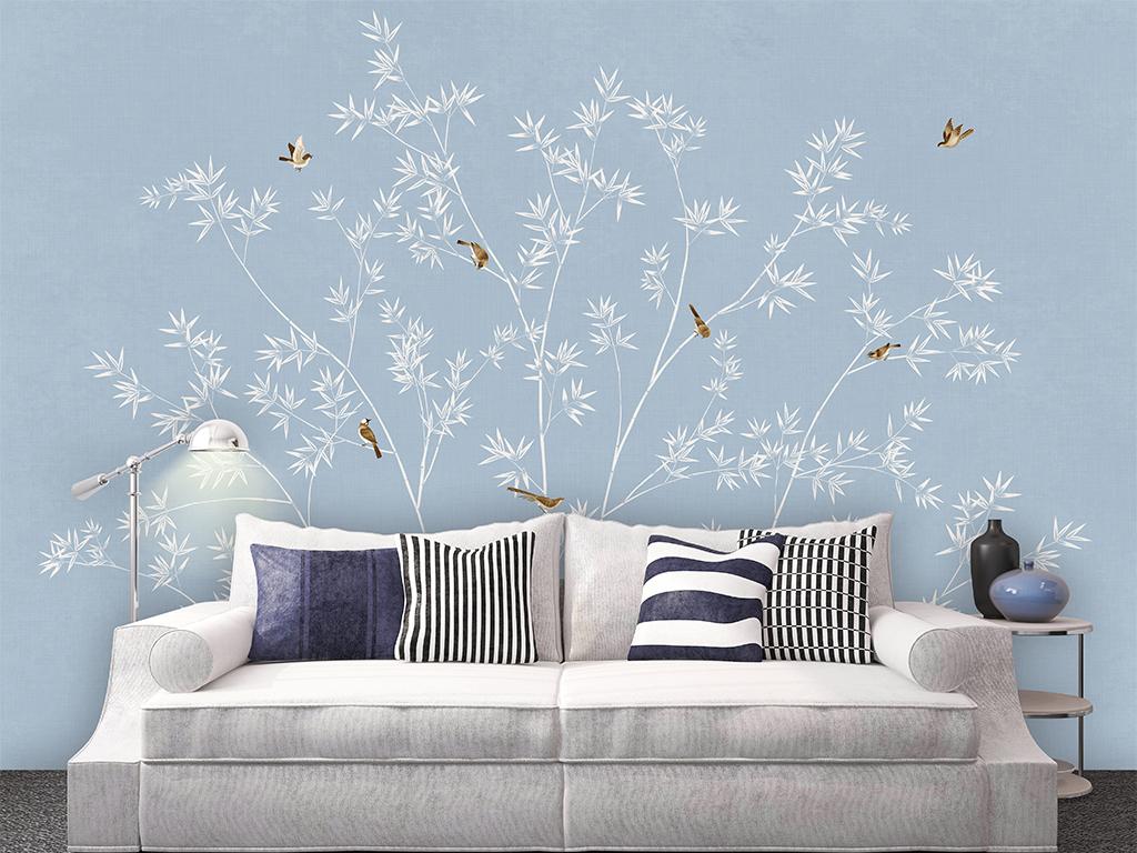 手绘现代简约新中式花鸟竹子背景墙壁画装饰画(图片:)图片