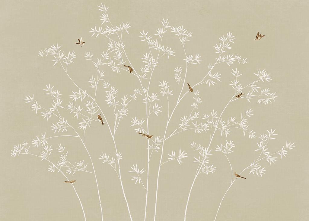 手绘现代简约新中式花鸟竹子背景墙壁画装饰画