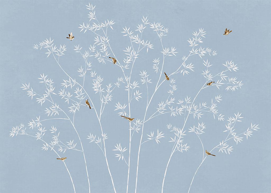 手绘现代简约新中式花鸟竹子背景墙壁画装饰画图片_(.图片
