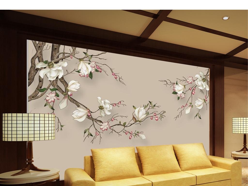 新中式手绘玉兰花枝电视背景墙