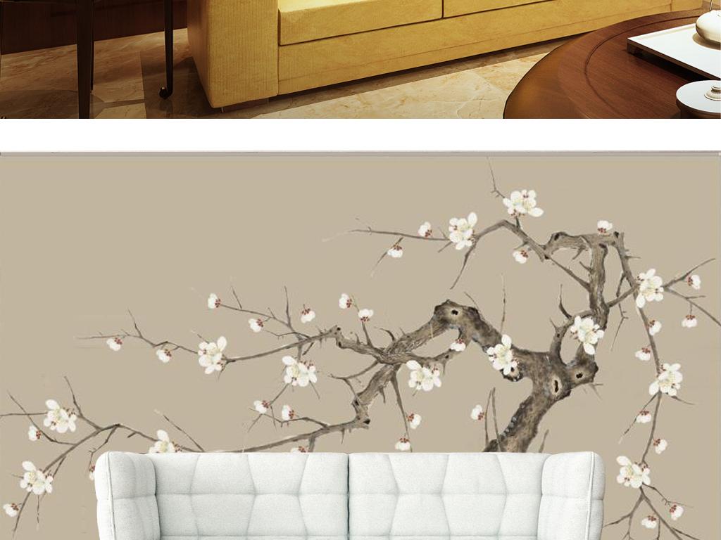 水墨画桌面壁纸-新中式极简手绘白梅花电视背景墙