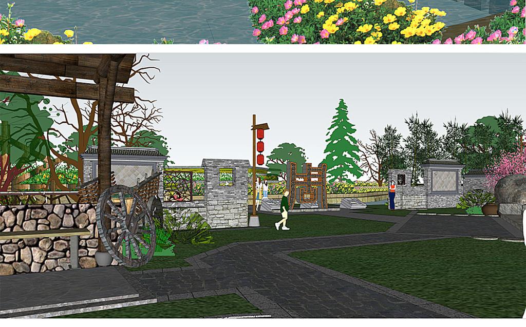 入口小品su模型室内室外建筑设计景观园林庭院公园广场城市规划毕业