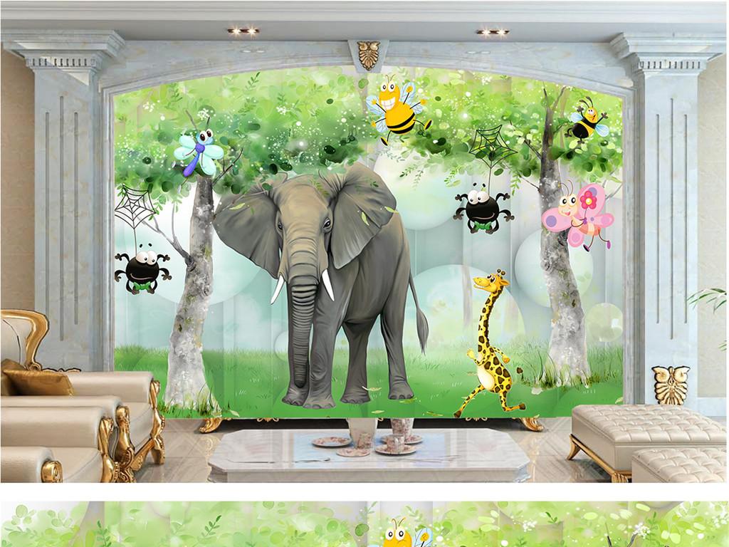 3d立体大象室内背景墙