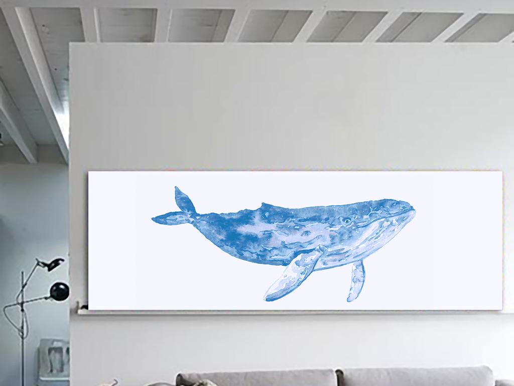 北欧风格蓝色海豚海洋水纹无框画装饰画插画