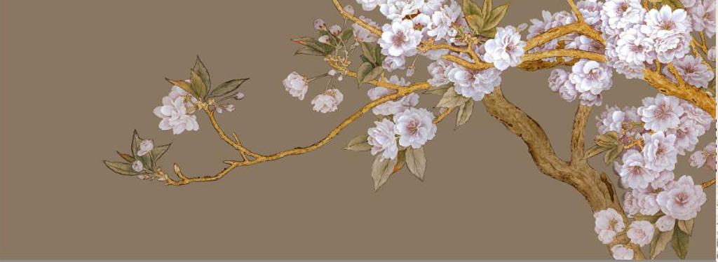 手绘工笔白桃花梨花电视背景墙