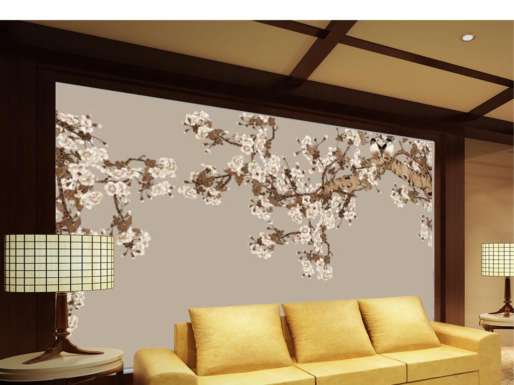 新中式手绘白梅花电视背景墙
