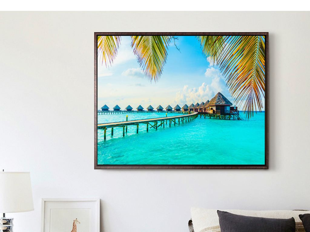 东南亚风景普吉岛椰树大海摄影装饰画