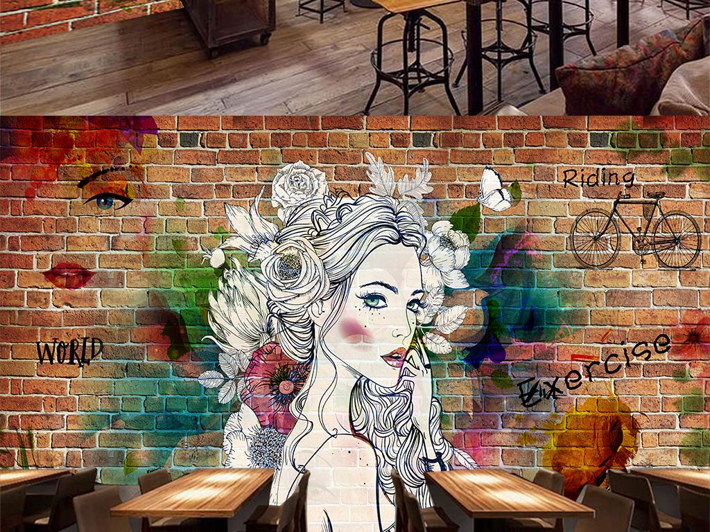 复古墙砖手绘美女音乐餐厅背景墙