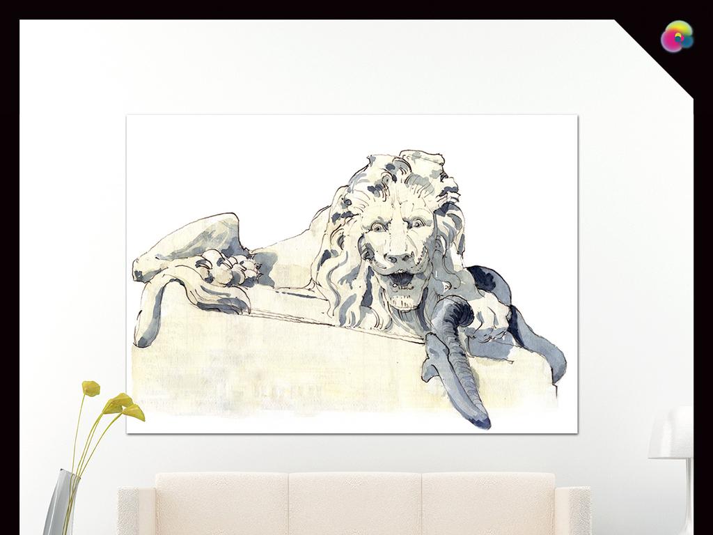手绘客厅装饰画无框画彩色狮子装饰画