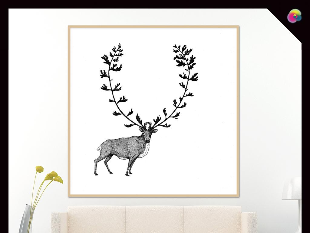 现代简约北欧风格森林剪影鹿装饰画床头画