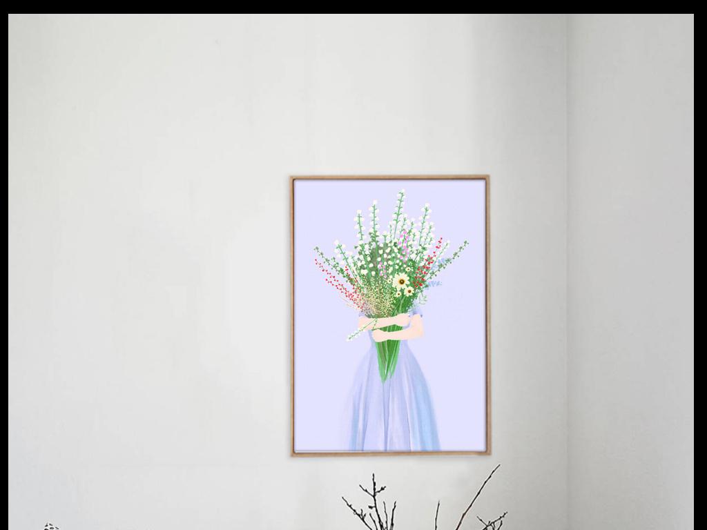 鲜花蓝色小清新风格简约风格手绘清新清新水彩手绘水彩进口画芯欧美画