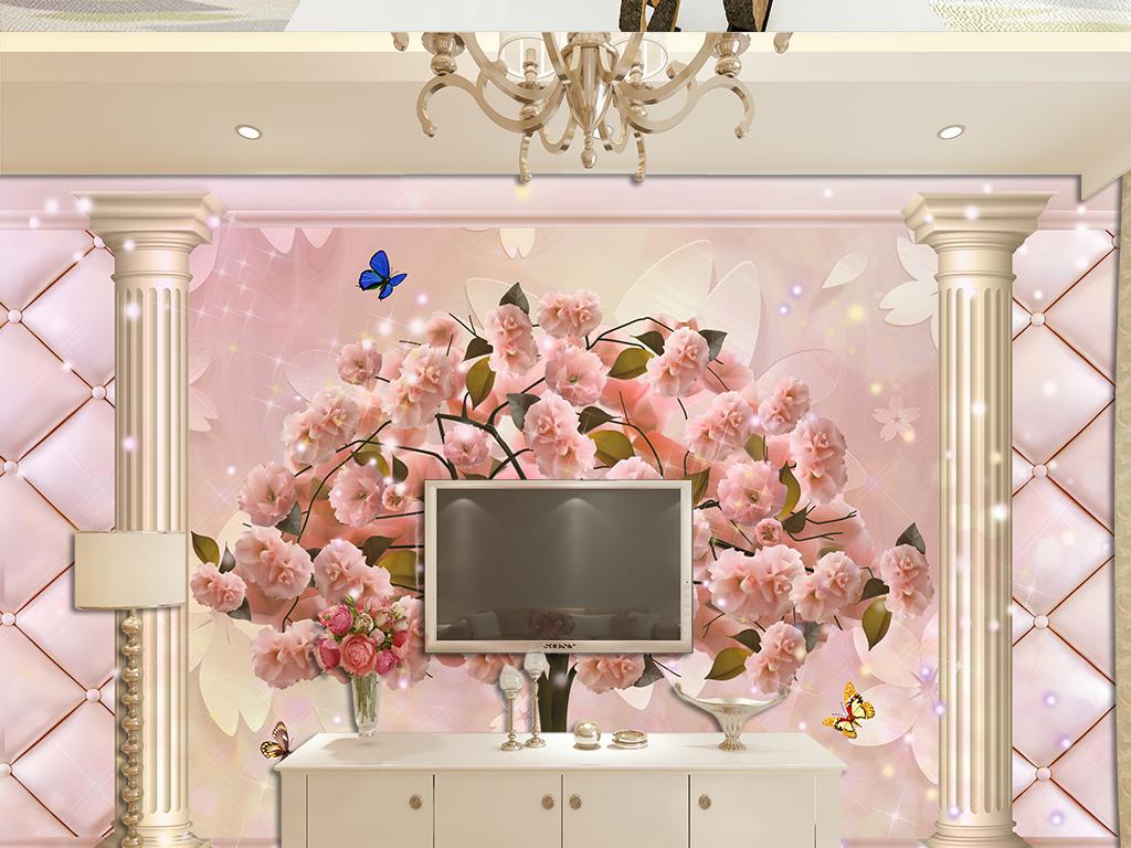 欧式罗马柱浪漫玫瑰花3d软包电视背景墙