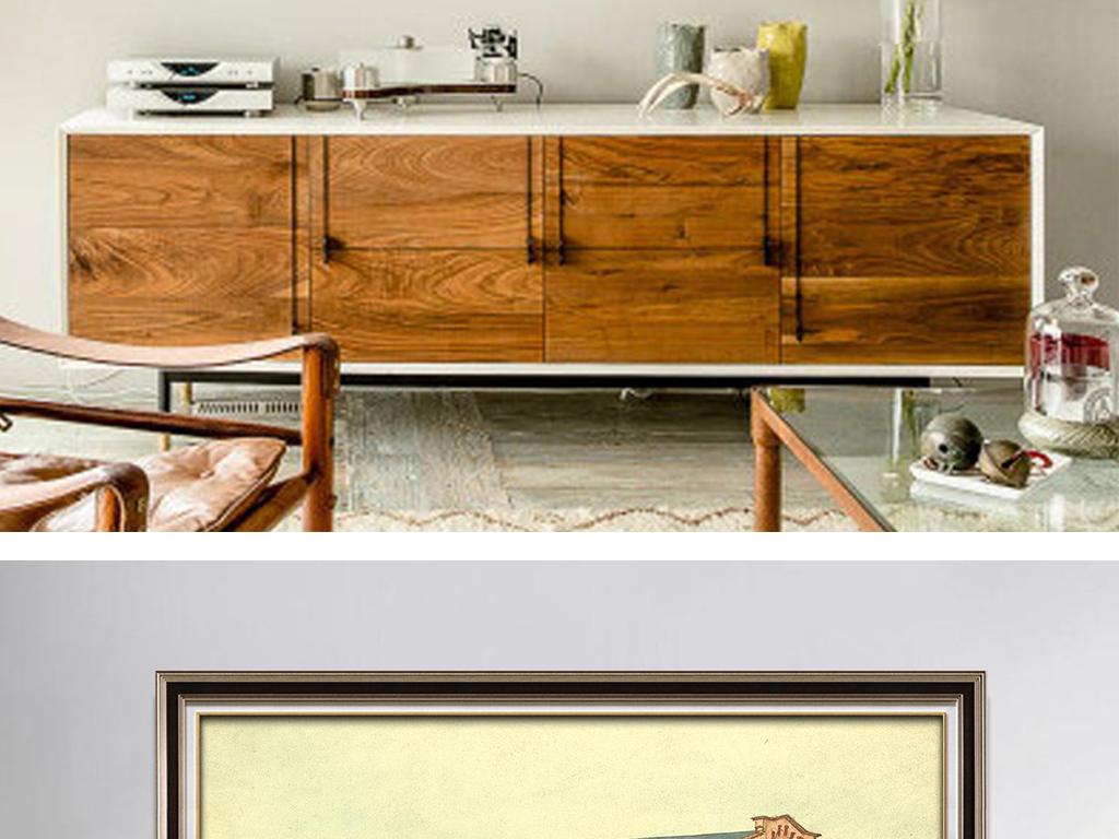 现代简约手绘建筑房屋无框画
