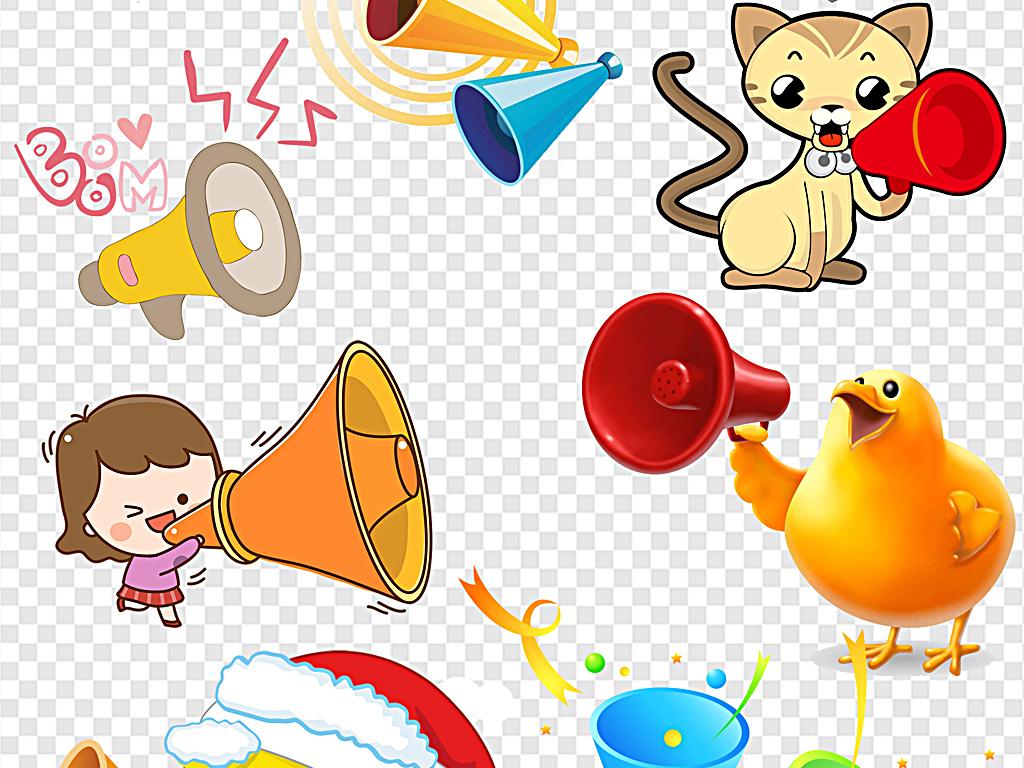 小喇叭彩色喇叭宣传喇叭卡通喇叭