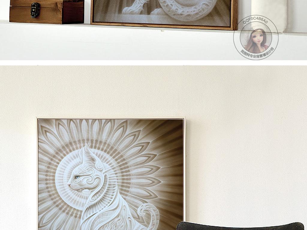 背景墙|装饰画 无框画 动物图案无框画 > 浮雕大气西方神话猫图案无框