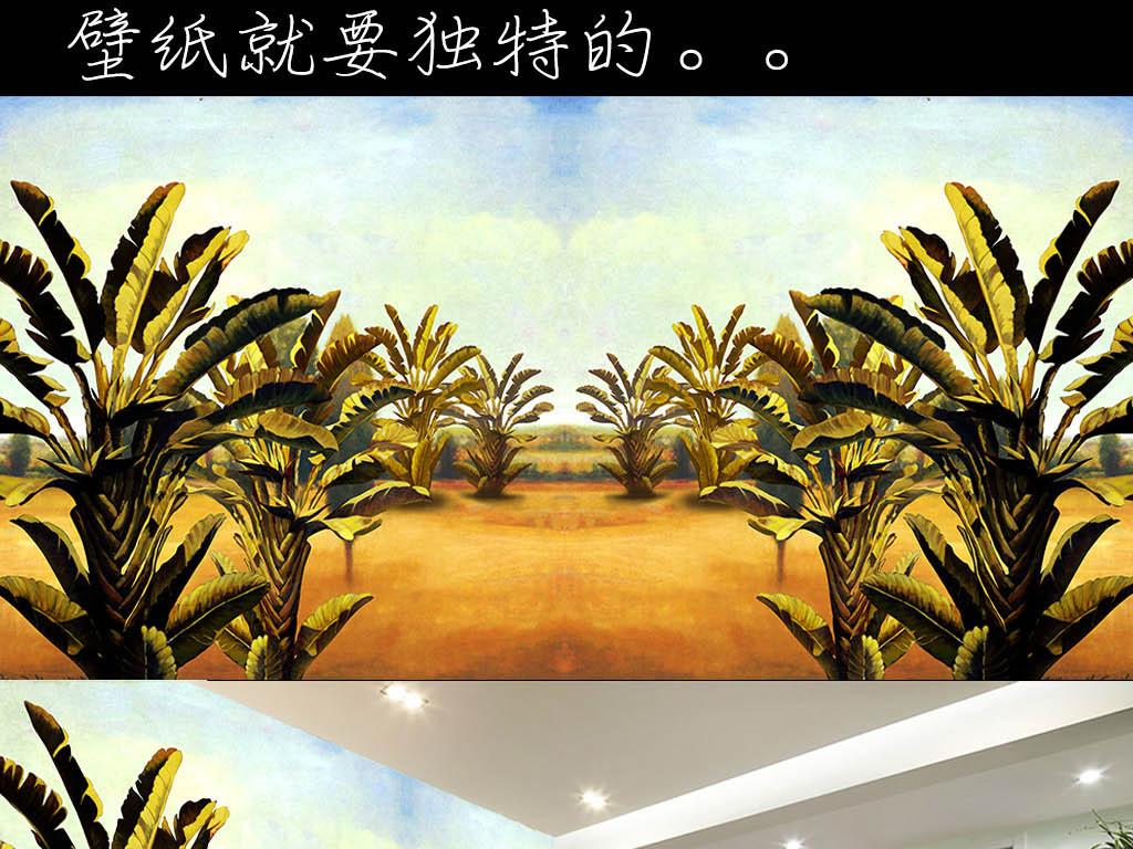 高清手绘油画热带雨林背景墙壁纸
