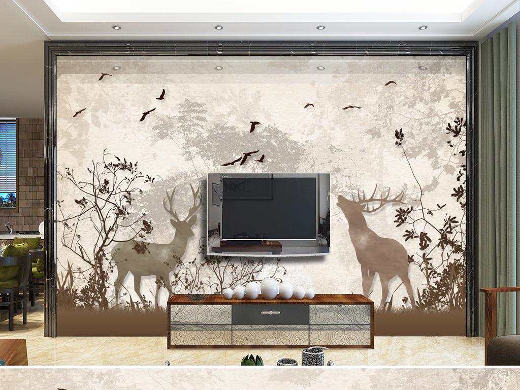 复古怀旧北欧手绘麋鹿森林电视背景墙图片