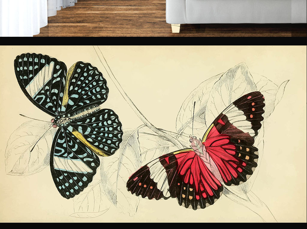 美式风格手绘蝴蝶彩色墙纸