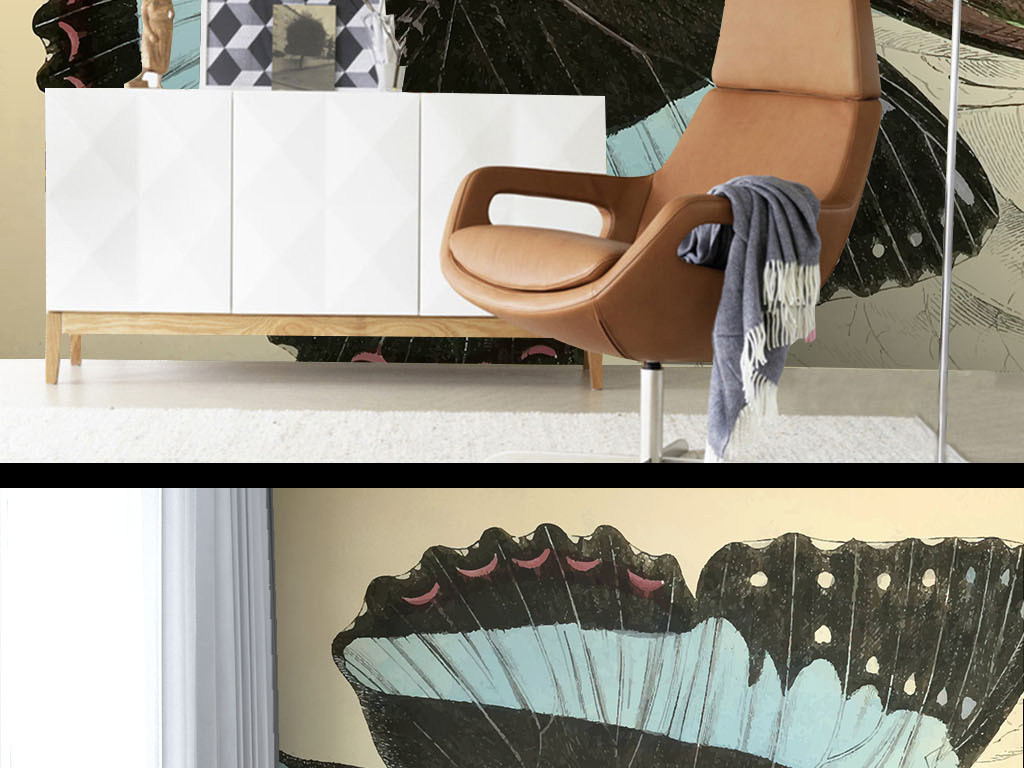美式墙纸手绘彩色蝴蝶