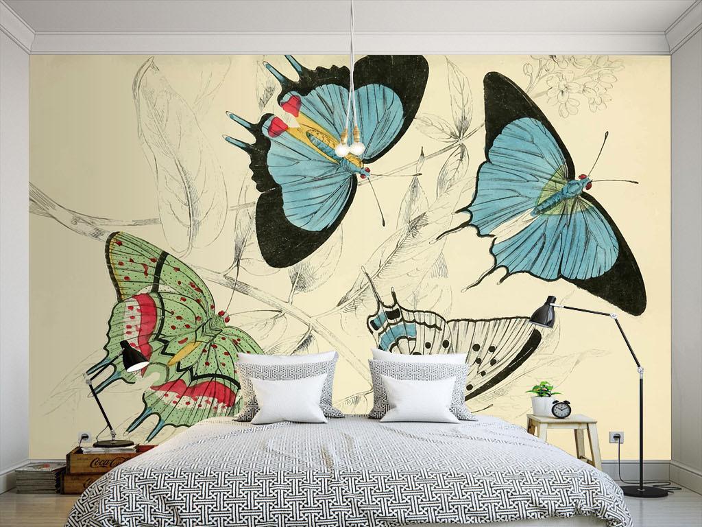 美式风格手绘蓝色蝴蝶墙纸