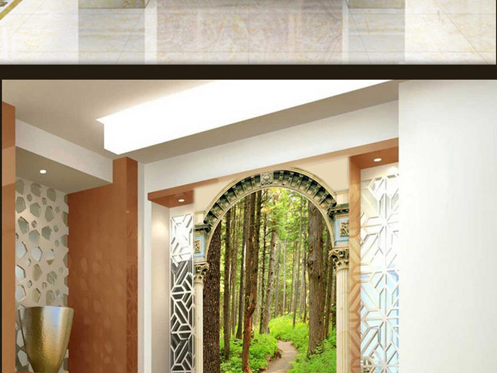 玄关罗马柱树林小路背景墙风景壁画图片图片