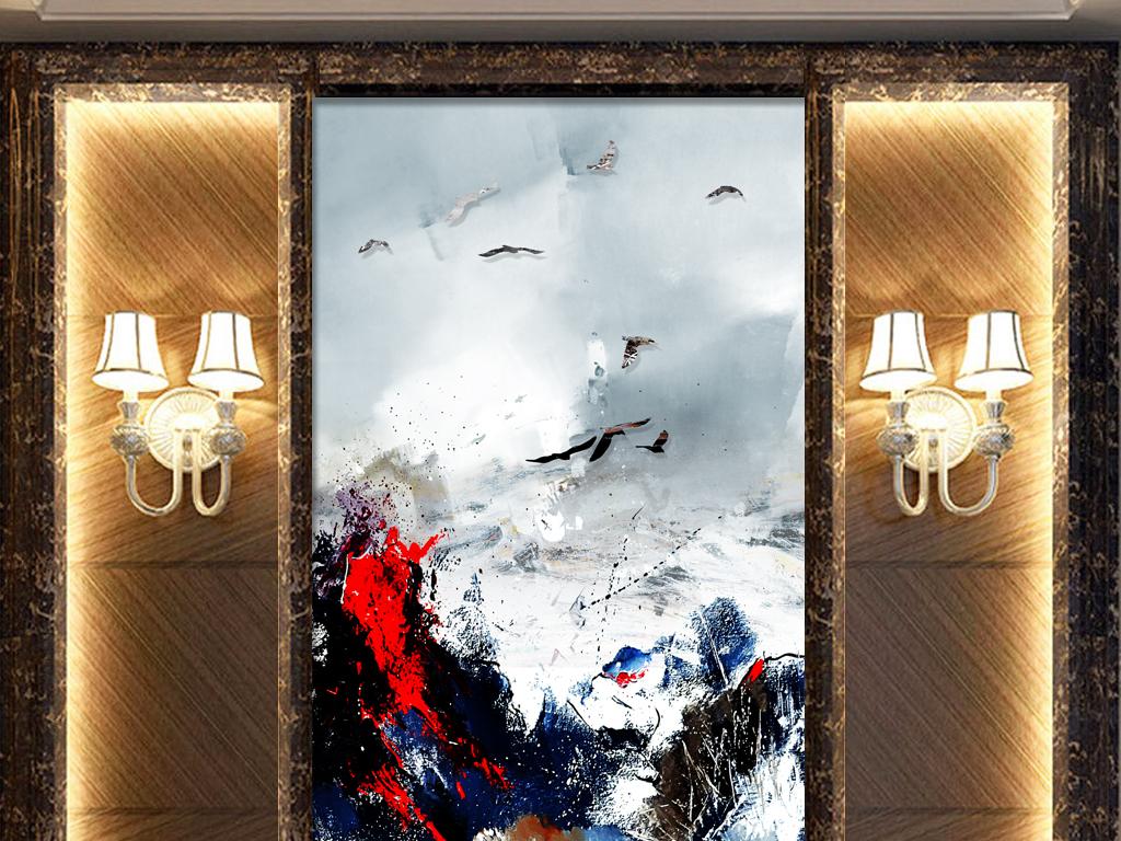 北欧手绘山水画玄关背景墙抽象油画
