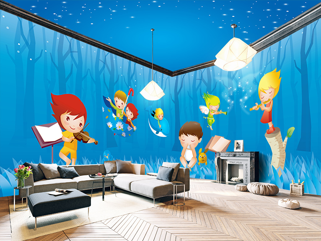 手绘背景墙快乐阅读儿童乐园快乐宝贝儿童小孩树林