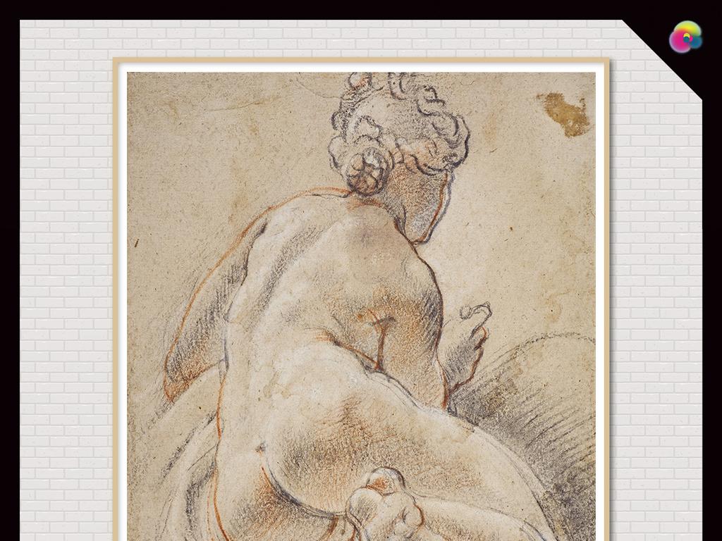 欧式手绘复古时尚摩登女郎裸体素描装饰画