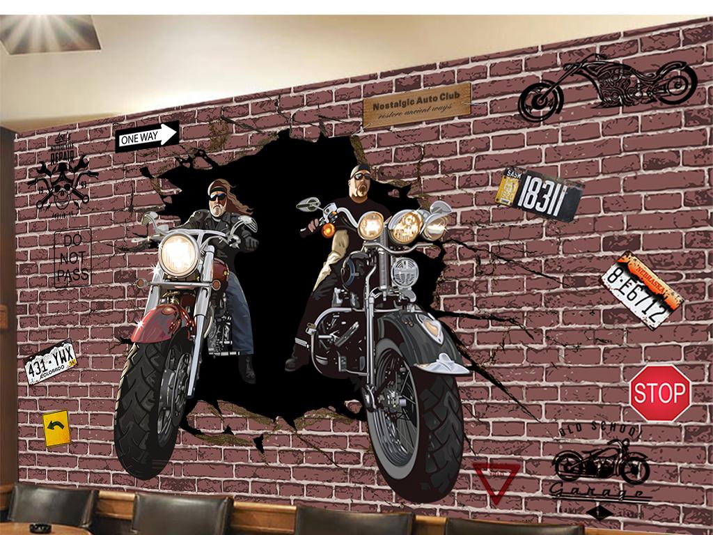 3d摩托骑士冲破砖墙手绘人物ktv背景墙