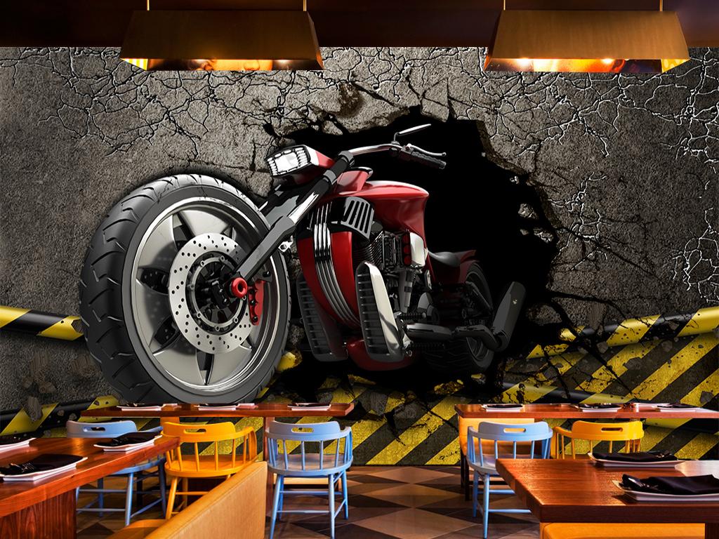 复古壁纸壁画英文照片墙汽车豪华黑白酒吧机车