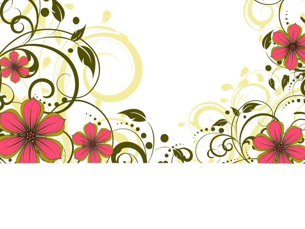 卡通彩色边框鲜花花朵设计底纹图