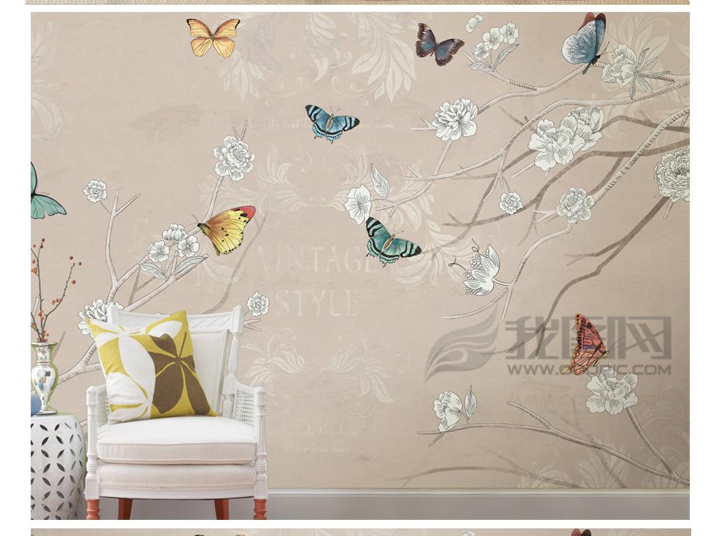 沙发背景墙简欧酒店壁画淡雅手绘花朵图案复古背景