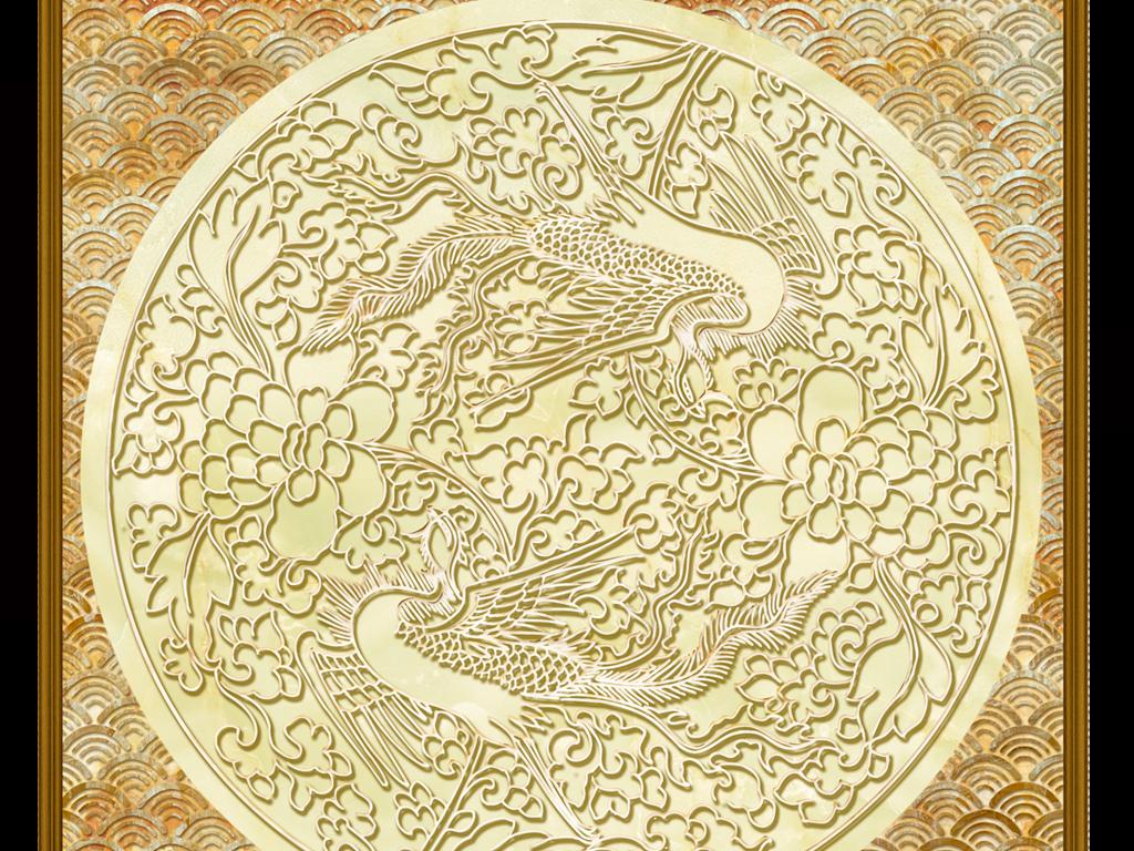 3D松鹤延年立体中式浮雕花纹艺术吊顶壁画图片
