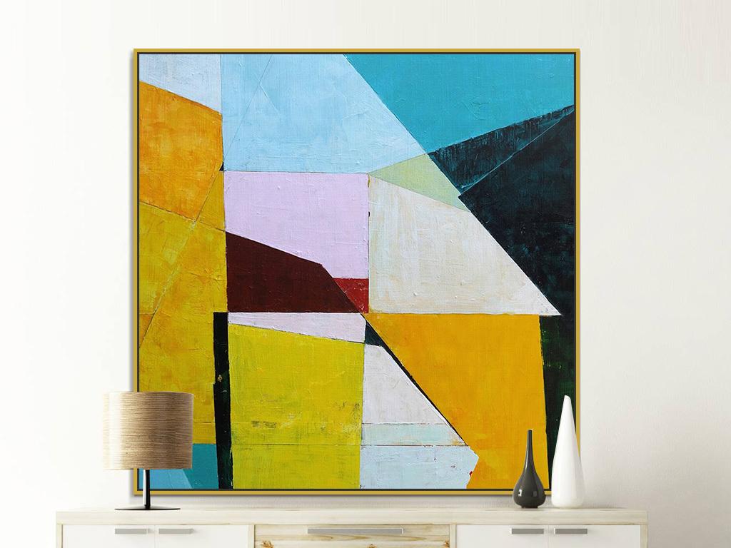 背景墙|装饰画 油画 抽象油画  > 现代黄色几何色块巨幅抽象油画装饰图片