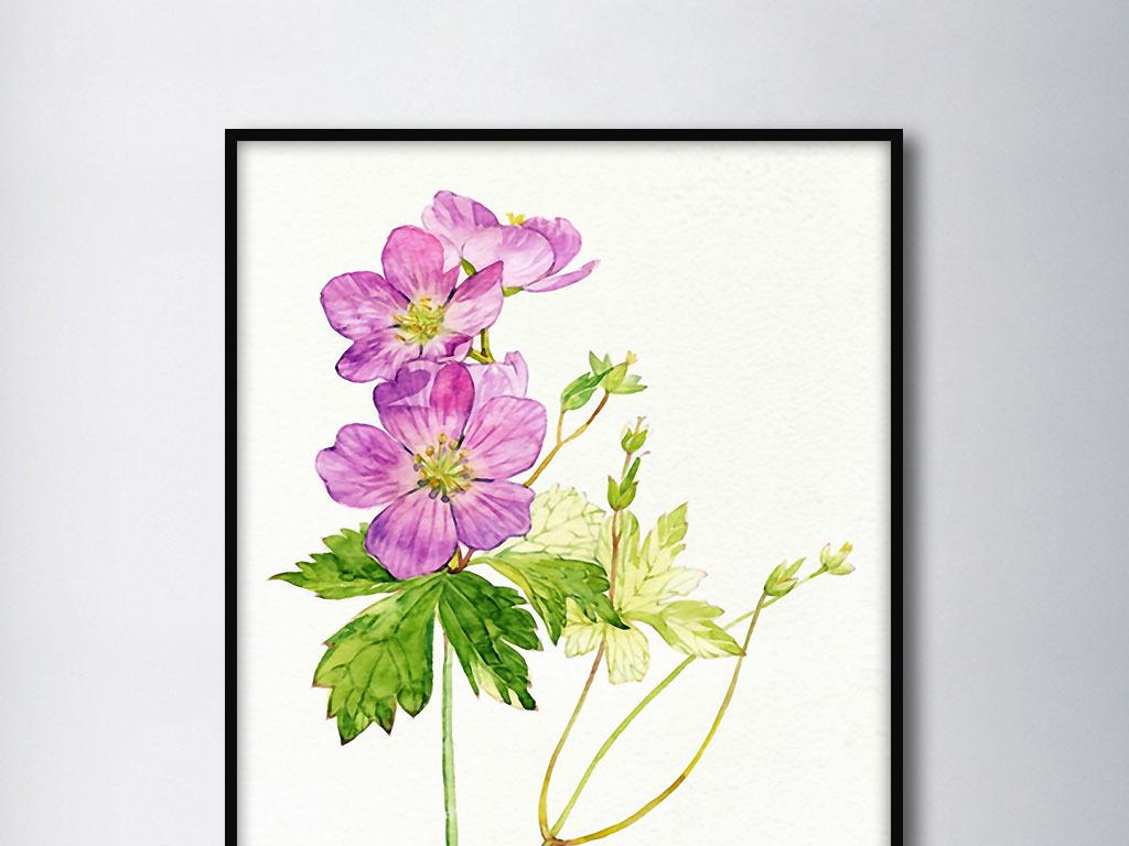 绿叶紫色花卉北欧小清新手绘欧式家居无框画